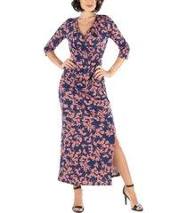women's floral print sleeve side slit maxi dress