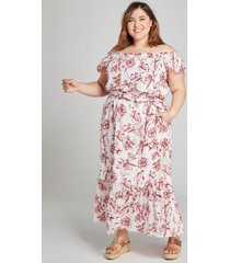 lane bryant women's shirred off-the-shoulder maxi dress 16p red & white floral