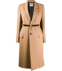 bottega veneta belted single breasted coat - brown