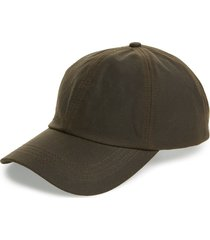 men's barbour waxed cotton baseball cap - green