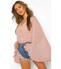 dobby chiffon flared sleeve top, mauve