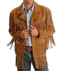 men westren fringe jackets, men brown fringe jacket, men cow boy suede jacket