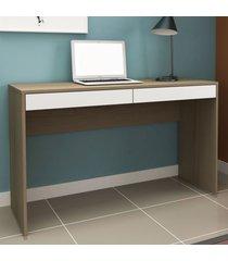mesa escrivaninha 2 gavetas ho-2932 avelã/branco - hecol