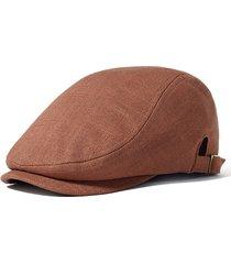 uomo casual berretto invernale in lino cotone caldo in colore a tinta unita regolabile antivento