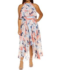 eliza j floral popover bodice high-low chiffon dress, size 20w in sky blue at nordstrom