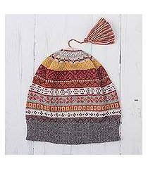 100% alpaca knit hat, 'inca countryside' (peru)