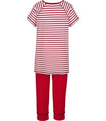pyjamas simone röd/vit/marinblå
