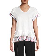 donna karan women's cotton-blend peplum top - white - size xl