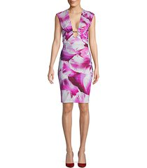 petal-print sheath dress
