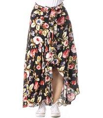 falda larga negra de mujer con estampado cosmos