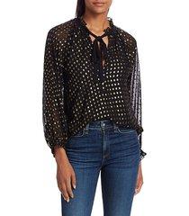 a.l.c. women's winona metallic polka dot tie-neck silk blouse - black gold - size 0