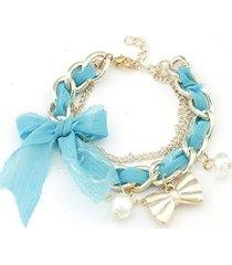 pulsera moño azul claro pu-10416