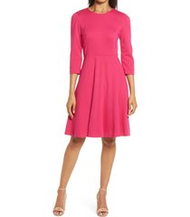 women's eliza j seamed fit & flare dress, size 8 - pink