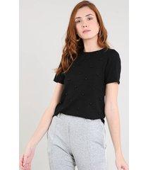blusa feminina em tricô com pérolas manga curta decote redondo preta