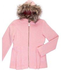casaco lã capuz removível gingga baby e kids rosa claro