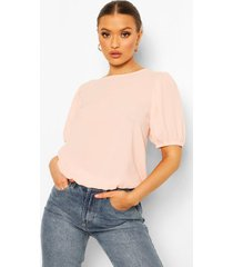 woven puff sleeve blouse, nude