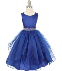 royal blue sleeveless taffeta flower girl dress birthday bridesmaid wedding prom
