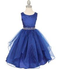 royal blue sleeveless taffeta flower girl dress birthday bridesmaid wedding prom