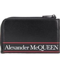 alexander mcqueen logo print wallet - black
