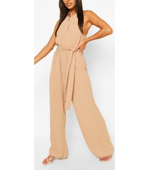 high neck belted jumpsuit, stone
