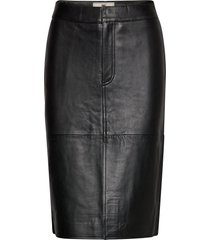 millie leather skirt rok knielengte zwart lexington clothing