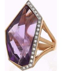 amethyst and diamond mirror cut ring