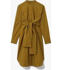 proenza schouler white label poplin tied shirt dress olive/brown 0