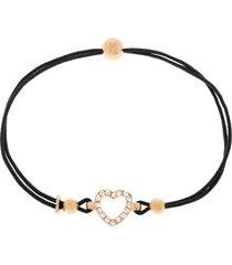 bracciale cuore in argento 925 dorato rosé, cordino e zirconi per donna