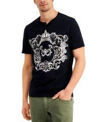 inc men's metallic graphic split-neck t-shirt, created for macy's