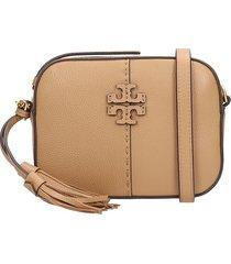 tory burch camera bag shoulder bag in leather color leather