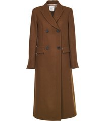 semicouture brown long double-breasted coat