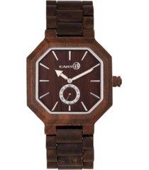 earth wood acadia wood bracelet watch brown 43mm