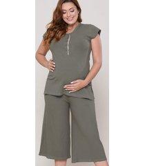 pijama art.renda pantacourt verde militar