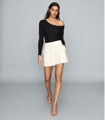 reiss jessie - ribbed-knit bodysuit in black, womens, size xl