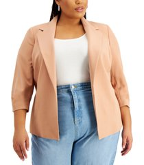 bar iii trendy plus size kiss-front blazer, created for macy's