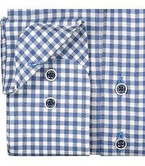 sleeve7 heren overhemd navy kleine ruit twill