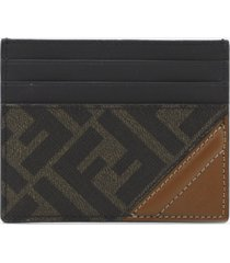 fendi cotton card holder with fabric insert with ff motif