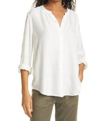 women's rails eloise metallic windowpane plaid long sleeve peasant blouse, size large - ivory