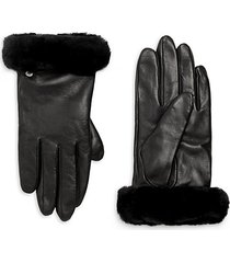 shorty shearling-cuff leather gloves