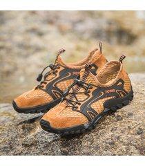 scarpe da uomo resistenti all'acqua antiscivolo in tessuto a rete a nido d'ape