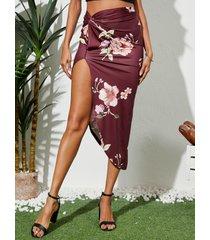 yoins falda a media pierna con dobladillo con abertura y estampado floral