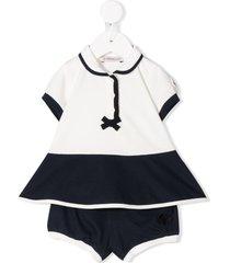 moncler enfant bow polo shirt tracksuit - white