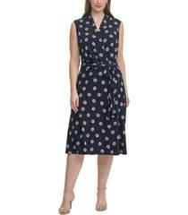 tommy hilfiger plus size daisy-print faux-wrap dress