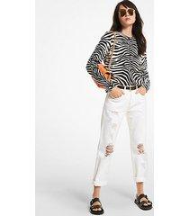 mk pullover in cashmere con motivo zebrato - bianco/nero (bianco) - michael kors