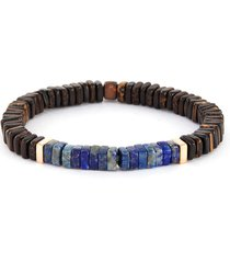 legno' ebony palm wood rose gold lapis disc bead bracelet