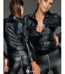 * noir handmade blouse van powerwetlook met pvc details
