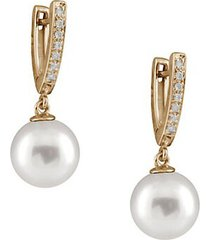 10-11mm white pearl, diamond and 14k yellow gold earrings