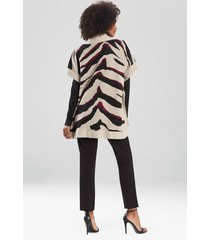 natori le tigre-angkor poncho sweater topper jacket, women's, silk, size s