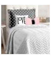 cobre leito branco infantil solteiro menina 5 peças com almofada decorativa estampada