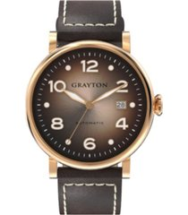 grayton men's classic collection brown flat-cut edge leather strap watch 44mm